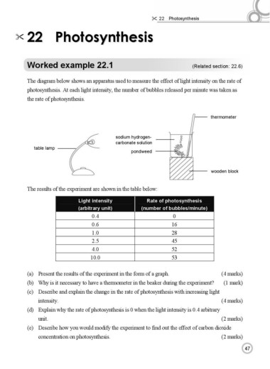 Page 3 hkdse biology worked examples and exam practice sample 2 marks e describe how you would modify the experiment to find out the effect of carbon dioxide concentration on photosynthesis 2 marks 47 ccuart Choice Image